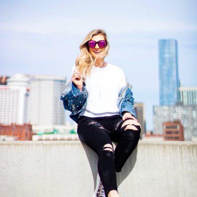 Cool Girl Fall Series: Denim Jacket & Black Distressed Jeans