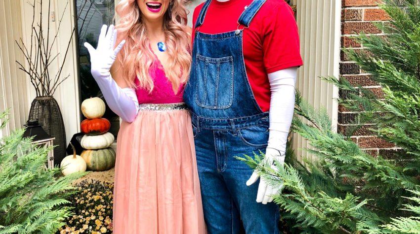 Halloween Costume Ideas Couple Princess Peach DIY Tulle Skirt Mario Couple Overalls