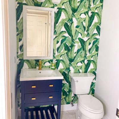 Coastal Palm Leaf Bathroom Renovation Reveal