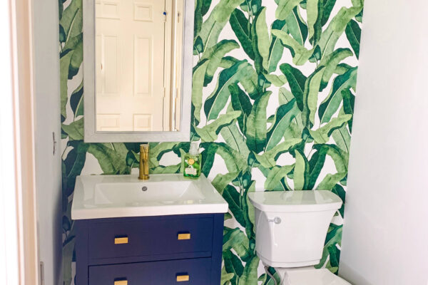 Coastal Palm Leaf Bathroom Renovation Reveal